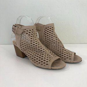 🔴 Unisa Tan Peeptoe Block Heel Shoes, 8.5